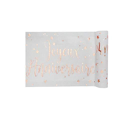 Santex 5668-20-30 - Camino de mesa para cumpleaños (algodón metalizado), color blanco y oro rosa
