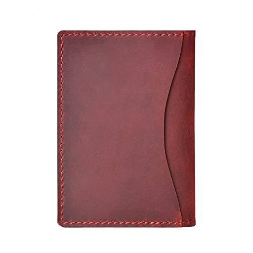 Tarjetero De Cuero para Hombre, Cartera Minimalista Vintage para Tarjetas De Crédito, Titular De La Licencia De Conducir Delgado (Color : Red, Size : 4.2x3x0.4inch)
