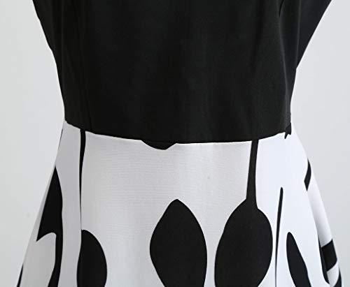 COZOCO Vestido Estampado sin Mangas con Estampado de Bloque Elegante y Encantador para Mujer(Blanco,S