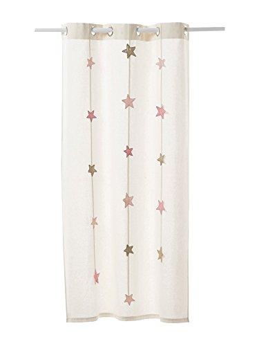 Vertbaudet Vorhang aus Canvas mit Sternen-Girlande wollweiß 105X180