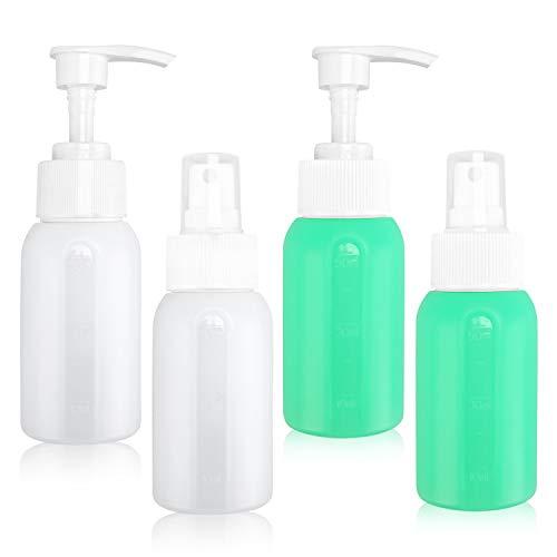 ZealBoom 6×50ml Silikon Sprühflaschen Reiseflaschen Nachfüllbare für Flugzeug Handgepäck Kosmetika mit Kulturbeutel, BPA-Frei Auslaufsicher Behälter für Hautpflege Lotion/Parfums/Flüssige Handseife