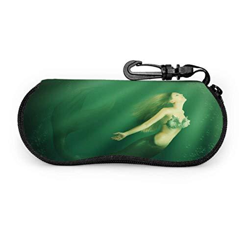 AEMAPE Mujer sirena con cola de pez en el océano Funda suave para gafas de sol Estuche para gafas Estuche ligero portátil con cremallera Estuche blando para gafas de sol para niños