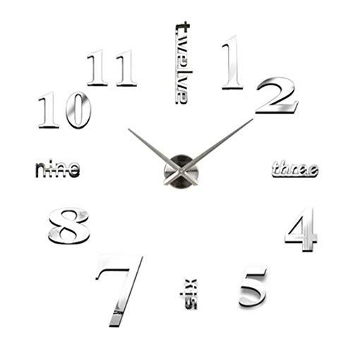 Moda reloj digital espejo etiqueta de la pared plata - plata
