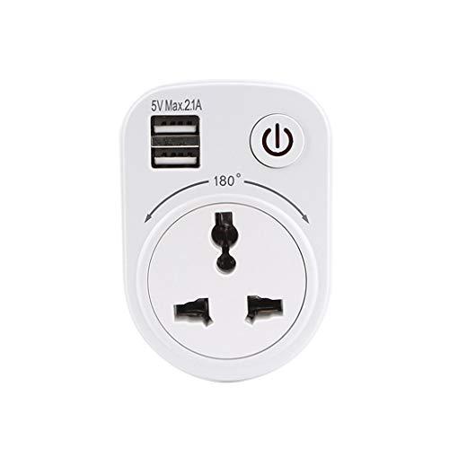 BIlinli Adaptador de Cargador 5V 2.1A Vie Puertos de Carga USB Dobles 1 Enchufe de conversión de Enchufe de CA 180 Grados Giratorio con Interruptor Toma de Corriente para Viajes