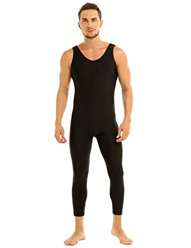 iiniim Mens Full Body One Piece Sleeveless Slim Fit Tank Unitard Leotard Bodysuit Dancewear Black X-Large