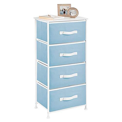 mDesign Cómoda para dormitorio con 4 cajones – Práctico mueble cajonera con balda de madera MDF para dormitorio, salón o pasillo – Cajonera de metal y tela – azul claro y blanco
