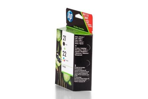 Original Tinte passend für HP DeskJet F 2276 HP 21, 22 SD367AE445-2x Premium Drucker-Patrone - Schwarz, Cyan, Magenta, Gelb - 360 Seiten