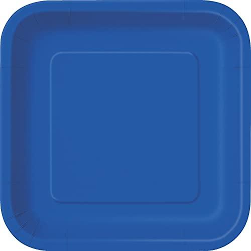 Unique Party- Piatti Ecologici Quadrati di Carta-18 cm-Colore Blu Reale-Confezione da 16, Royal Blue, 31495EU