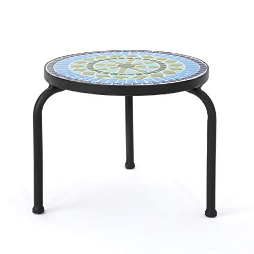 Christopher Knight Home Iris Outdoor Ceramic Tile Side Table with Iron Frame, Blue / Green