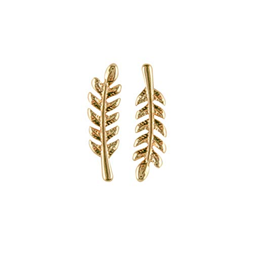 Gold Olive Leaf Ohr Kletterer/einfache Minimal Ohr Crawler Stud Ohrring von Rivertree