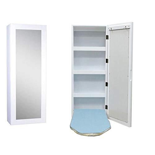 Tafel Jcnfa wandhouder uitklapbaar, strijkplank met rechthoekige spiegel en opslag ingebouwde strijkplank