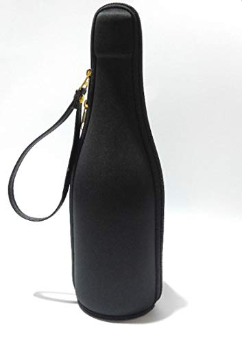Estuche para regalo, presentación, viaje, almacenamiento y transporte para botellas de champán, prosecco, vino espumoso y cuello largo, color negro