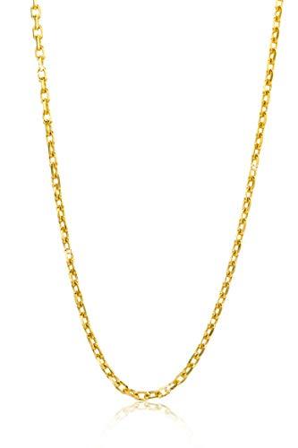 Orovi Damen Ankerkette Halskette 14 Karat (585) GelbGold Anker diamantiert Goldkette 1,3mm breit 45cm lange