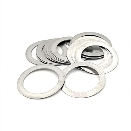 10P M15 a M40 304 arandela plana ultrafina de acero inoxidable que ajusta la junta plana de la cuña ultrafina gruesa 0,1 0,2 0,3 0,5 1mm-M22X32X0,2mm