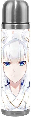 Cheeap-Shop Wunderschön angepasste Vakuumsauger isoliert Edelstahl Anime Azur Lane Wasser Tasse Sport Kaffee Travel Mug Cup Leder Abdeckung doppelwandige Kapazität 17Oz / 500ML