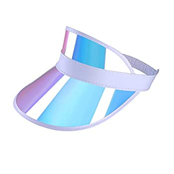 Iridescent Plastic Sun-Visor Hats UV-Shield Protection Hat Tennis-Viosr-Mirrored  Rainbow 1PC