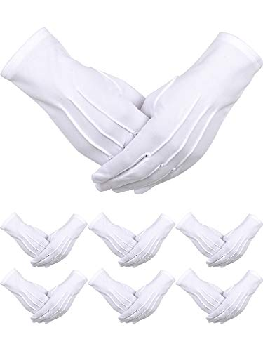 12 Pairs Nylon Cotton Gloves Parade Costume Gloves for Police Formal Tuxedo Guard (XL Size)