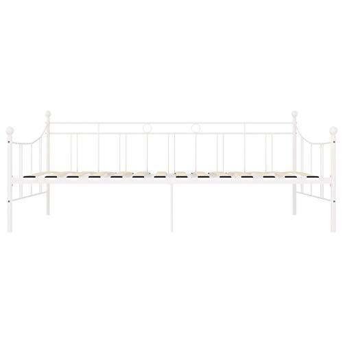 Bulufree Marco de Cama de Metal Blanco para Dormitorio de Estilo Moderno, Marco de Cama de Metal práctico para la Familia 208 x 95 x 83 cm (Largo x Ancho x Alto)