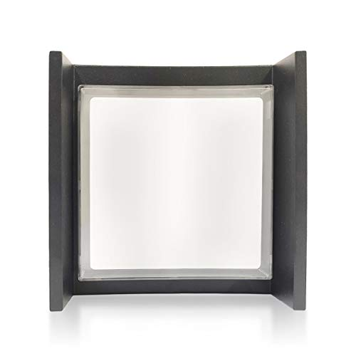 Leelike Apliques de Pared Modernos 3000K, 7W LED Aplique Pared Exterior, Impermeable IP65 Lámpara de Pared Moderna Iluminación para Balcón, Pasillo, Corredor,Baño,Jardín,Porche,Camino,Patio, Negro