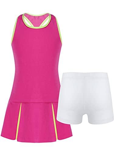 Freebily Mädchen Tennis Kleider Kurzarm Shirt Und A-Linien Rock Set Sport Training Fitness Turnen Bekleidung Outfit Tanzkleid für Kinder Rosenrot_E 134-140/9-10 Jahre