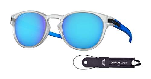 Oakley Latch OO9265 926548 53M Matte Clear/Prizm Sapphire Sunglasses For Men+BUNDLE with Oakley Accessory Leash Kit