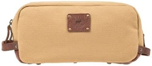 Will Leather Goods Men's Grady Tan Canvas and Brown Leather Travel Kit