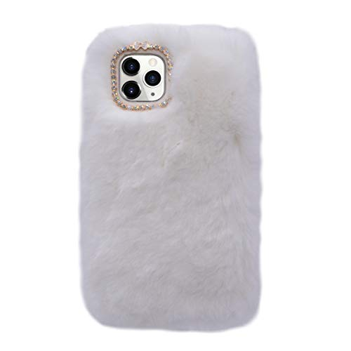Losin Plush Case Compatible with Apple iPhone 11 Pro Max 6.5 inch Fashion Luxury Diamond Bowknot Cute Fuzzy Furry Winter Rabbit Hair Warm Plush Fluffy Fur Soft TPU Back case