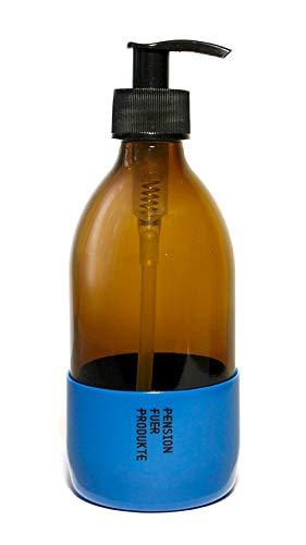 Pension für Produkte Seifen- und Lotionsspender Base, 300ml, Braunglas/blau