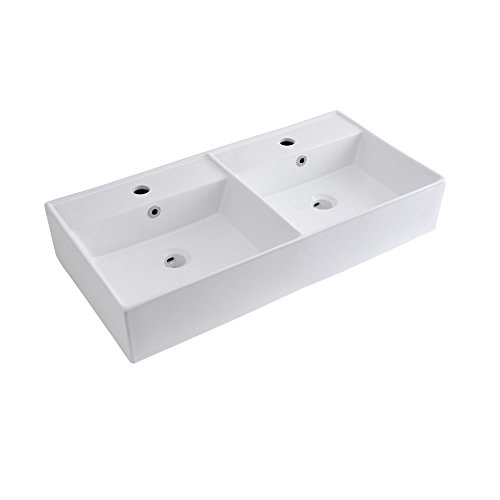 Hudson Reed Doppelwaschbecken 820mm Breite Aufsatz- & Hängewaschbecken Halwell - Moderne Waschschale aus Keramik in Weiß Rechteckig