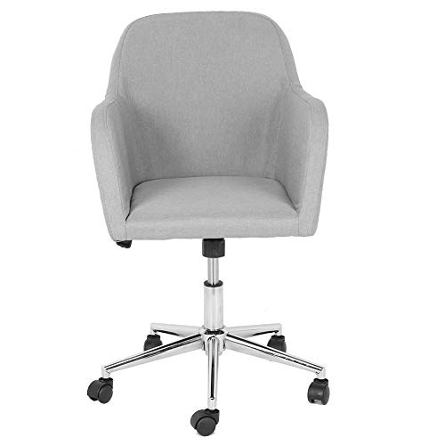 Zerone - Silla de oficina ergonómica giratoria de 360 ° con reposabrazos y cojín suave, color gris