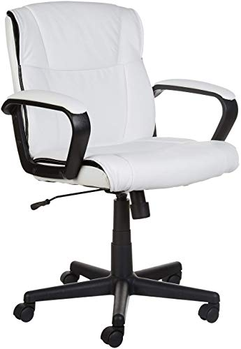 Amazon Basics Padded, Ergonomic, Adjustable, Swivel Office Desk Chair with Armrest, White Bonded Leather