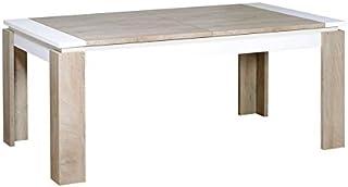 Tousmesmeubles Table de Repas à allonge Chêne délavé/Blanc Mat - Florine - L 180/260 x l 100 x H 76 - Neuf