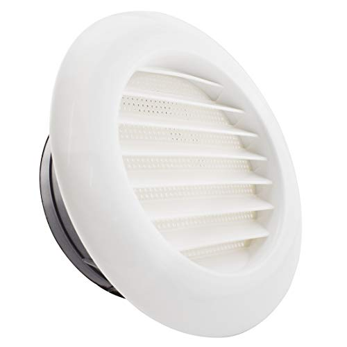 SDTC Tech 6 Inch Round Air Vent ABS Louver Grille Cover with Built-in Screen Mesh Detachable Soffit Air Exhaust Vent for Bathroom Kitchen Bedroom Office
