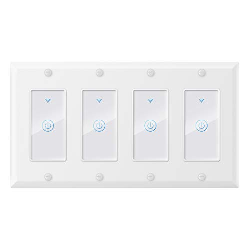 WIFI Smart Light Switch,Inle Tuya Smart Switch,Compatible with Alexa/Google Assistant and IFTTT,Remote Control and Timer,No Hub Required,Neutral Wire Required,15A 100-240v 2.4GHz(4 Gang)