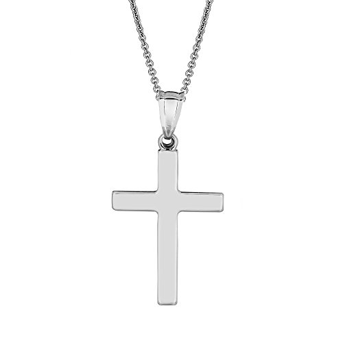 Ritastephens Sterling Silver Classic Shiny Cross Pendant Necklace 30mm - 18 inches