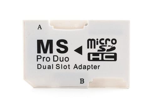Adaptador Micro SDHC a MS PRO DUO Convierte dos tarjetas MicroSD MicroSDHC a MS PRO DUO. Perfecto para Playstation.