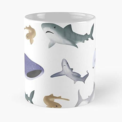 Wildlife Dogfish Tiger Sharks Ocean Whale Shark The Best - Tazza da caffè in ceramica bianca da 325 ml