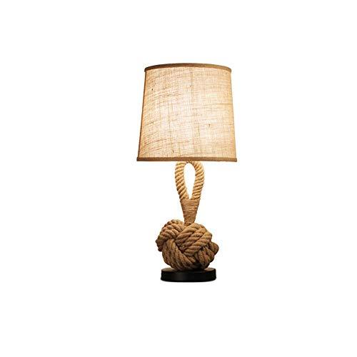 Lyuez American Retro Persoonlijkheid Desk Lamp Creativa Camera Lato Del Letto LED Desk Lamp Coffee Room Studio stof touw Canapa Decorations Piccola tafellamp