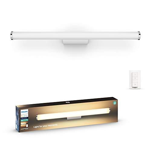 Philips Hue White Amb. LED-Spiegelleuchte Adore inkl. Dimmschalter, Bad-Beleuchtung, chrom, rund, 1750lm, alle Weißschattierungen, steuerbar via App, kompatibel mit Amazon Alexa (Echo, Echo Dot)