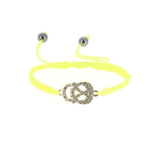 FASHIONGEN - Pulsera de shamballa de Calavera de Diamantes de imitación, Deva - Neon Amarillo