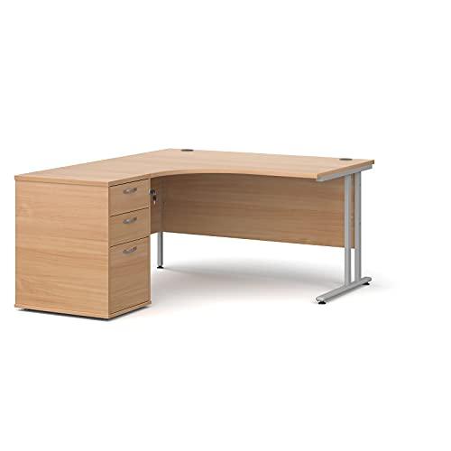 Maestro - Juego de 25 escritorios ergonómicos para mano izquierda (140 x 120 cm), color roble