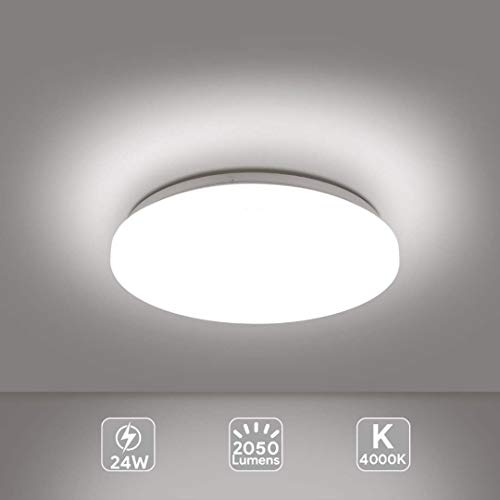 Plafoniera LED Lampada a Soffitto Bianco Naturale 4000K 24W 2050 Lumens Ø33cm, EISFEU Plafoniera LED per cucina, bagno, camera da letto, corridoio, cantina, ufficio