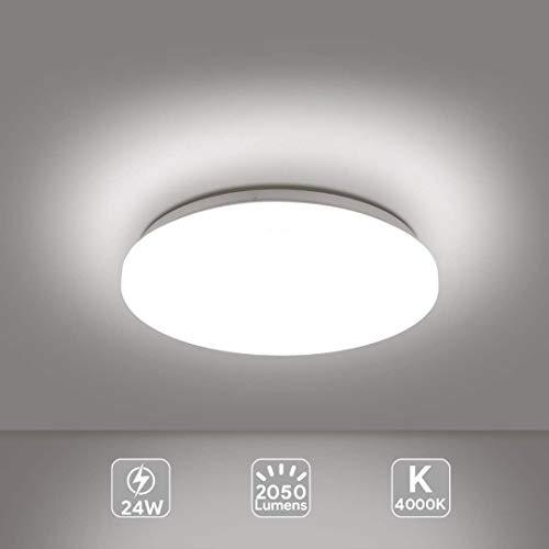 EISFEU Lámpara LED de techo moderna 24W, Plafón led de techo redonda, Luz de baño, Luz de cocina, Luz de dormitorio, Blanco 4000K Ø330mm 2050Lumens [Clase de eficiencia energética A++]