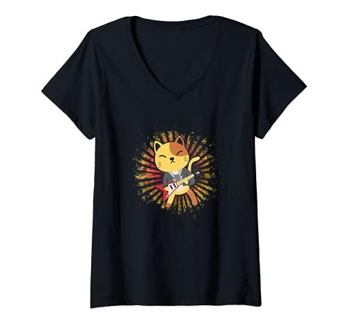 Mujer Lindo Kawaii anime gato tocando guitarra eléctrica Camiseta Cuello V