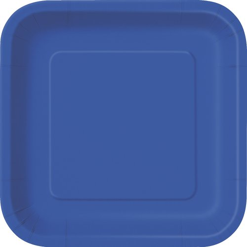 Unique Party - Platos Cuadrados de Papel - 23 cm - Azul Rey - Paquete de 14 (31484)