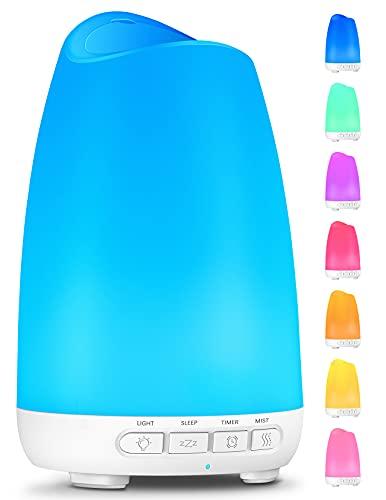 Diffusore di Oli Essenziali, 150ml Diffusore di Aromi con Modalità Sonno e 8 Colori Luce, 21dB Ultra Silenzioso Aromaterapia Diffusore Ambiente Umidificatore con Timer Senza BPA per Casa Ufficio
