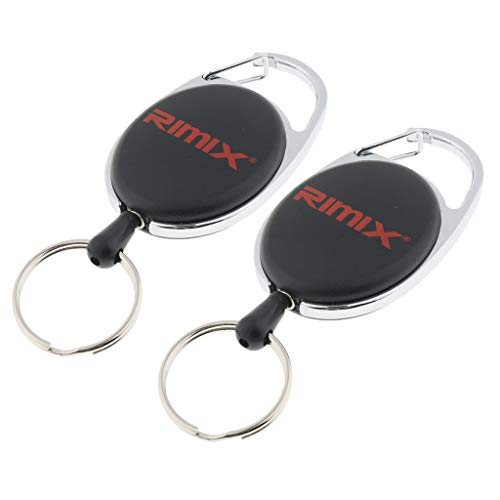chiwanji 2 Pieces Retractable Keychain Carabiner Badge Pulley Key Holder Tool - Black