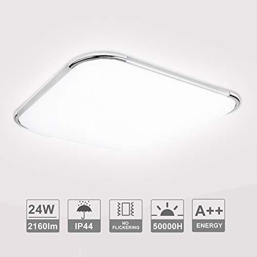 VINGO LED Lámpara de Techo 24W luminaria baño IP44 Impermeable 2160LM 6500K Blanco frío, LED Plafón para Dormitorio Cocina Sala de Estar Comedor Balcón