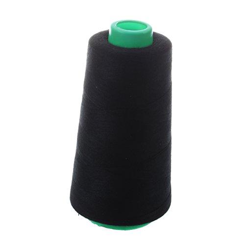 RETYLY Durable 3000 Yardas De MáQuina De Coser Overlock De PoliéSter Industrial Medidor De Roscas Conos Color PoliéSter Hilo De Coser (Negro)