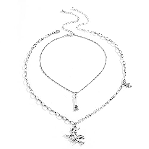 N/A European and American Jewelry Simple Confluence Tassel Pendant Necklace Female Double Witch Broom Asymmetrical Necklacecollar Mujer Collares De La Amistad para Collar Pareja